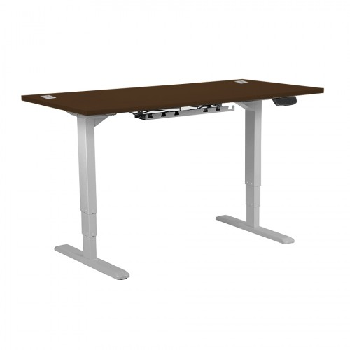 Electric Height Adjustable Desk Silver frame 1600 x 800 Walnut top