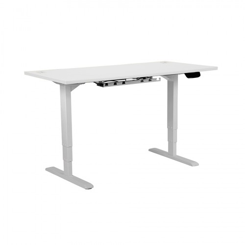 Electric Height Adjustable Desk Silver frame 1200 x 800 White top