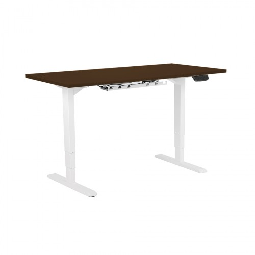 Electric Height Adjustable Desk White frame 1200 x 800 Walnut top