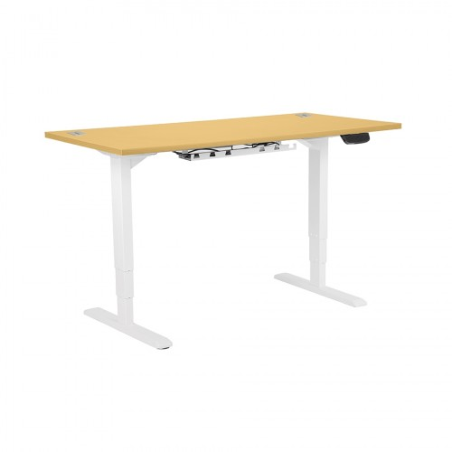 Electric Height Adjustable Desk White frame 1600 x 800 Beech top