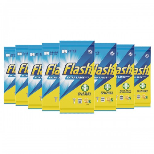 *Price Drop* Flash All Purpose Antibacterial Wipes - 48 wipes per pack - Case of 8 packs (384 wipes)