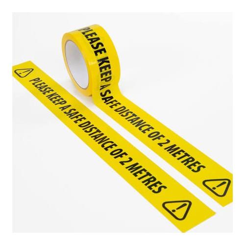 **Price Drop** Social Distancing 2 Metre Floor Marking Tape - 48mm x 33m, Black / Yellow PK6