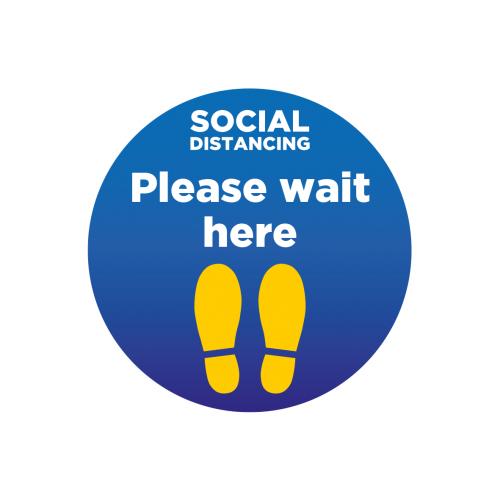 Please wait here Floor Stickers