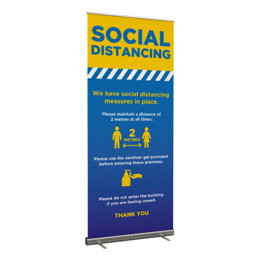 Social Distancing Measures In Place - Roller Banner