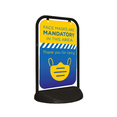 Mandatory Face Masks Swing Sign - 500x750mm