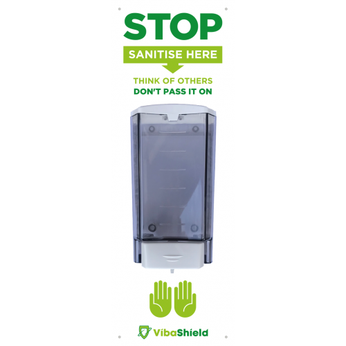Manual wall mounted sanitising dispenser with back board