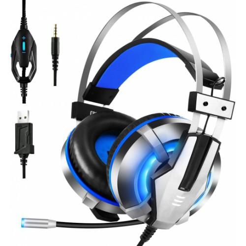 EKSA Gaming Headset with Adjustable Noise Cancelling Mic, LED Light, Soft Memory Earmuffs, Over-Ear Headphone
