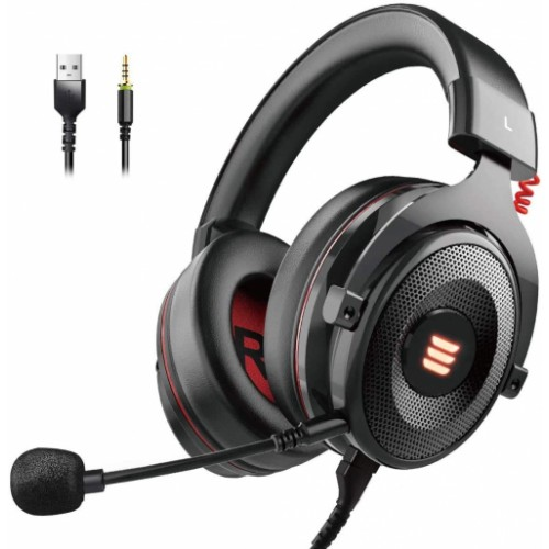 EKSA Surround Sound USB Gaming Headset with Noise Cancelling Mic, LED Light