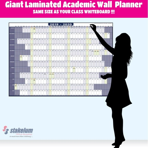 Giant Laminated Academic Wall  Planner -168cm x 118cm (66.2 x 46.8 in) SAME SIZE AS YOUR CLASS WHITEBOARD !!!