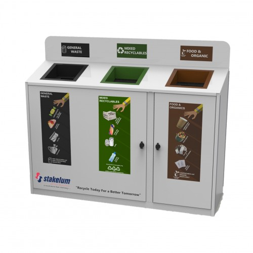 3 Way Recycling Station pull-out bag-holder system  ideal for high volumes areas | Manufactured in Ireland