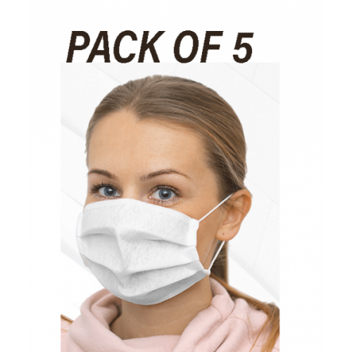 PK 5 - Reusable - EASY TO BREATHE -  Antibacterial Protective Face Mask - 115 GSM Single Ply