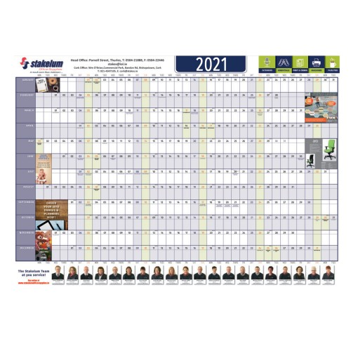 500x PERSONALISED WALLPLANNER 2021 With your logo   170gsm Silk Super A1 - 891x630mm   Folded