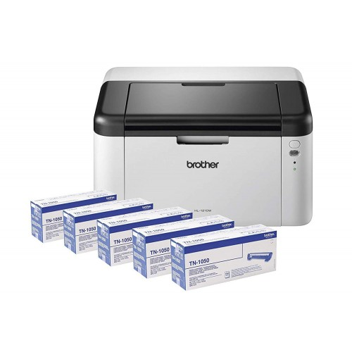 Brother HL-1210W Mono Laser Printer Wireless & 5 Toner Bundle