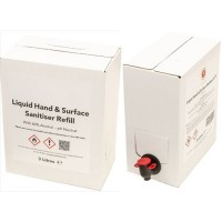 1 x 3L Liquid Hand and Surface Sanitiser with Tap Refill  WHO Formula