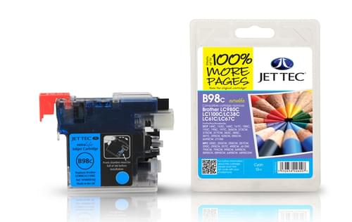 Jettec Compatibile Brother LC980/1100 Cyan Inkjet Cartridge (B98C)