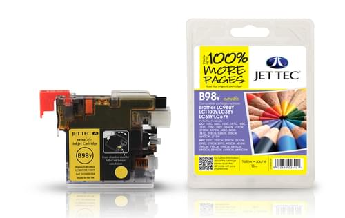 Jettec Compatibile Brother LC980/1100 Yellow Inkjet Cartridge (B98Y)