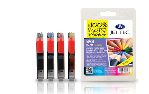 Jettec Compatibile Brother LC980/1100 B/C/M/Y Multipack Inkjet Cartridges (B98BCMY)