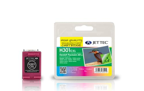 Jettec Remanufactured HP301XL C/M/Y Colour Inkjet Cartridge (H301CXL)