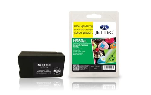Jettec Remanufactured HP950XL Black Inkjet Cartridge (H950BXL)