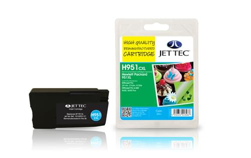 Jettec Remanufactured HP950XL Cyan Inkjet Cartridge (H951CXL)