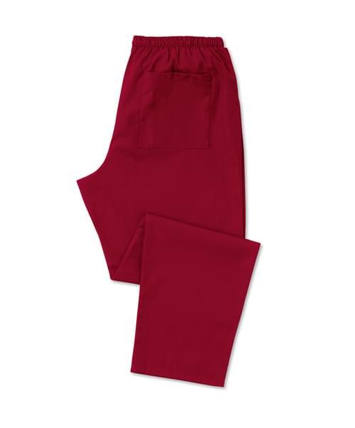 Scrub Trousers Full Elastic Burgundy - D398BU-XSR
