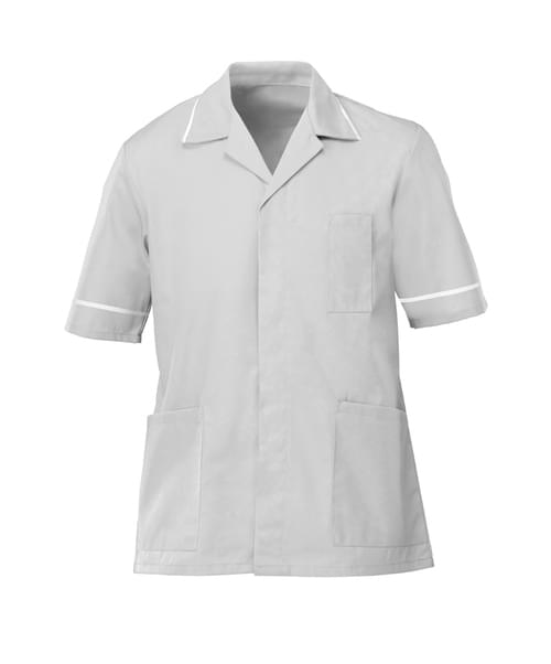 Men's S/S Tunic Pale Grey/White - G103PG-116