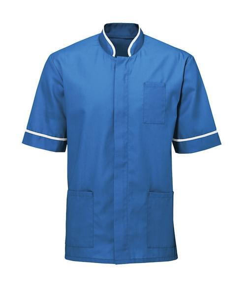 Men's Mandarin Collar Tunic Hosp Blue/White - NM7HB-4XL
