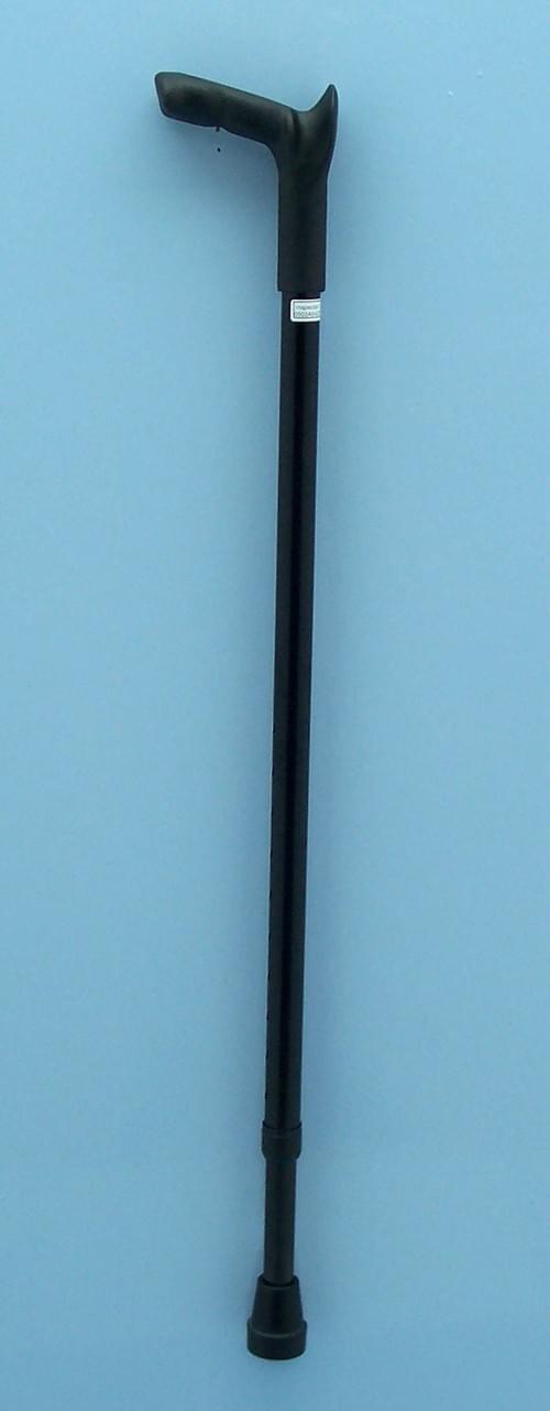 Height Adjustable Aluminium Black Cane with Ambidextrous Ergonomic Handle