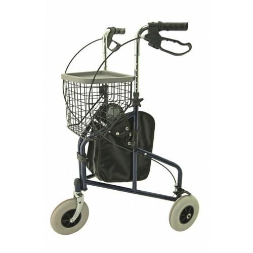 Folding Steel Tri-Walker with Tray, Bag & Basket (BLUE)