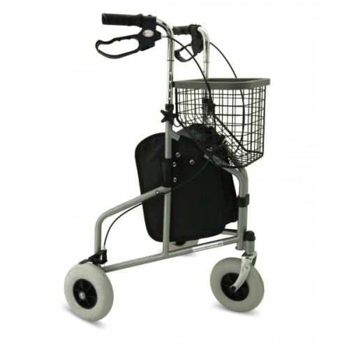 Folding Steel Tri-Walker with Tray, Bag & Basket (SILVER)