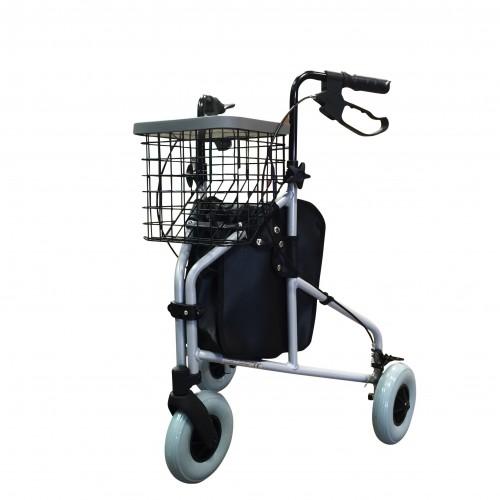 Folding Lightweight Aluminium Tri-Walker with Tray, Bag & Basket (SILVER)