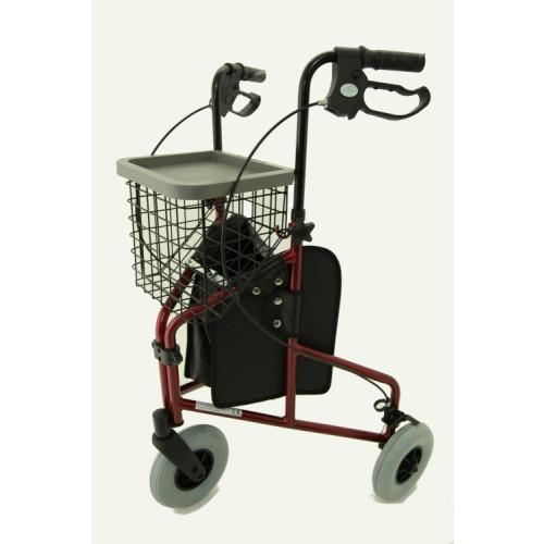 Folding Lightweight Aluminium Tri-Walker with Tray, Bag & Basket (RED)