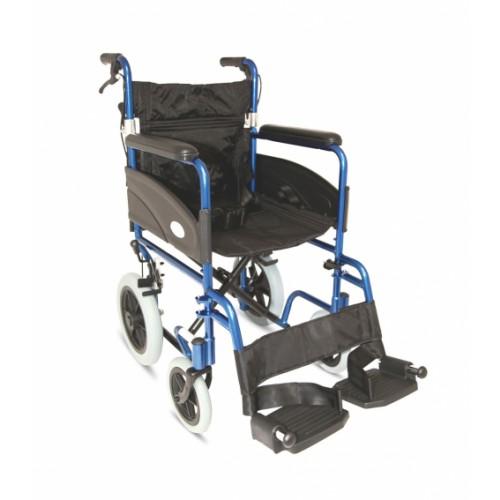 "Folding Aluminium Transit W/chair, Attendant Handbrakes (Seat 20"" x 16"") BLUE"