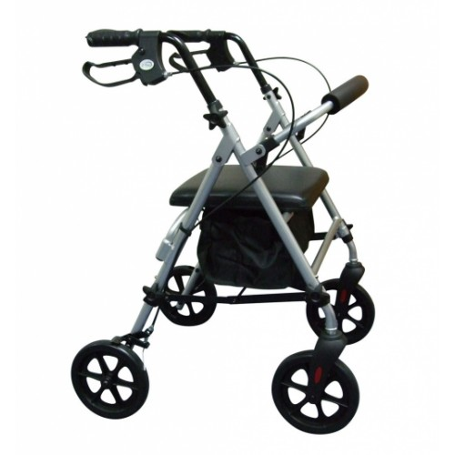 Compact Aluminium 4 Wheel Rollator with underseat Bag, Silver