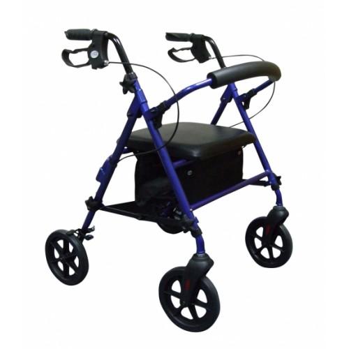 Compact Aluminium 4 Wheel Rollator with underseat Bag, Blue