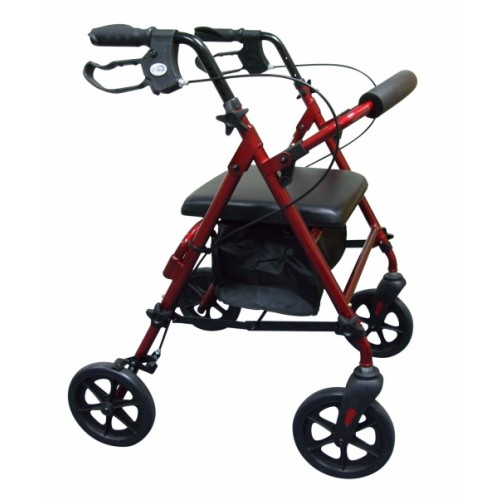 Compact Aluminium 4 Wheel Rollator with underseat Bag, Red