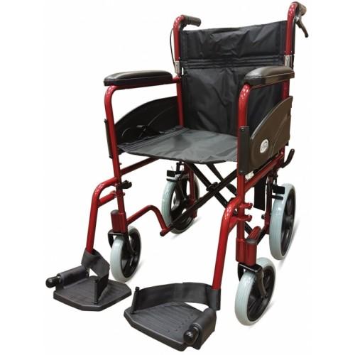 "Folding Aluminium Transit W/chair, Attendant Handbrakes (Seat 19""x16"") Red"