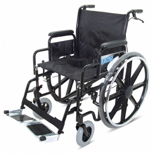 "Folding Heavy Duty Extra Wide Steel Wheelchair, Attendant Handbrakes (Seat 22"" x 15"")"