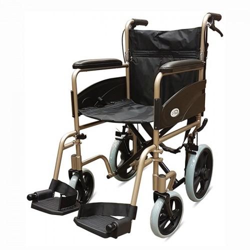 "Folding Aluminium Transit W/chair, Attendant Handbrakes (Seat 19""x16"") Champagne"