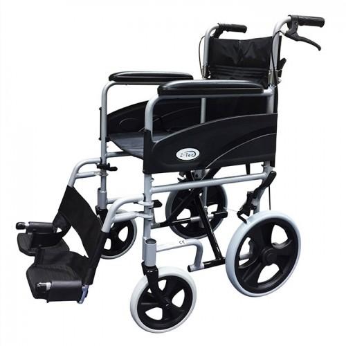 "Folding Aluminium Transit W/chair, Attendant Handbrakes (Seat 19""x16"") Silver"