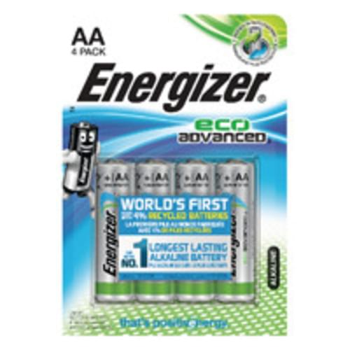 Energizer EcoAdvanced Alkaline AA Batteries E91 (Pack of 4)