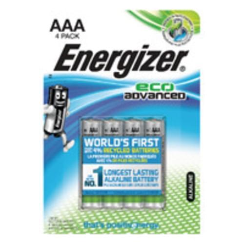 Energizer EcoAdvanced Alkaline Batteries E92 AAA Pk 4