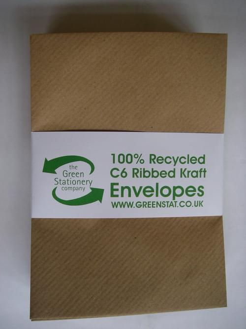 Brown Ribbed Recycled Kraft C6 Envelopes pack 50