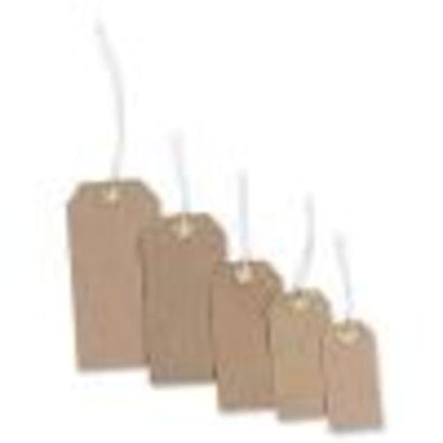 Recycled Brown Strung Tags Labels 70x35mm pack 100