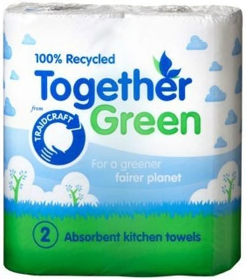 Traidcraft 3ply Recycled Kitchen Towel pack of Two Rolls