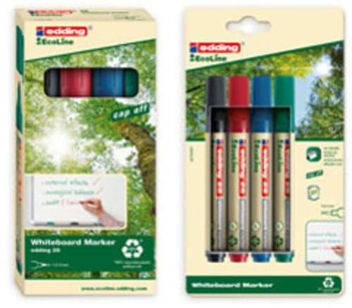 Recycled Assorted Bullet-Tipped Whiteboard Markers x 4 Edding Ecoline 28
