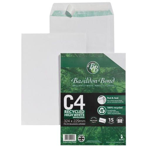 Basildon Bond Recycled 120gsm Peel Seal White C4 Envelopes x 50