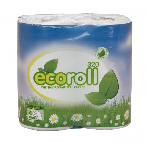 Ecoroll 2 ply Recycled Toilet Rolls 320 sheets x 36 rolls