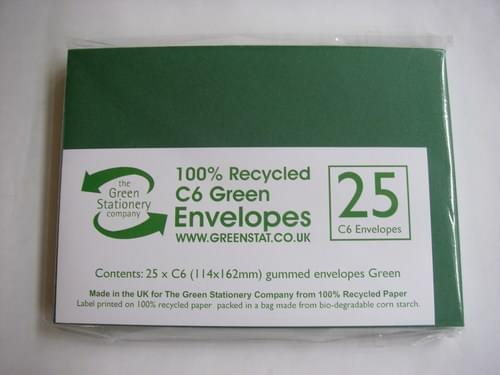 Recycled Green C6 Envelopes pack 25 ONLY ONE PACK LEFT IN STOCK