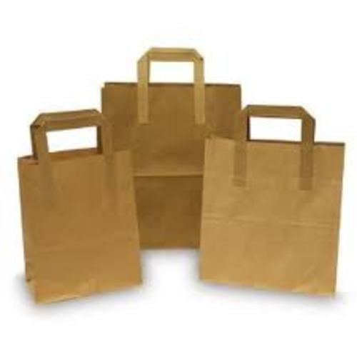 Recycled Paper Carrier Bags Large 25x30cm (10x12inch) Flat Handle x 125